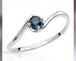 A Beautiful 10kt WG, Size 7 Ring with  .22 ctw Blue Diamond