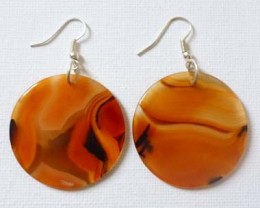 Orange Agate Gemstone Round Earrings