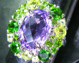 AMETHYST DIOPSIDE SILVER RING  31.95 CTS  SIZE-7    RJU-35