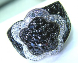 BLACK SPINEL  SILVER RING  43.35 CTS  SIZE- 8   RJU-38