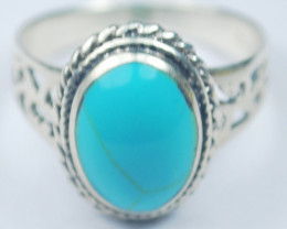 4.00 Grams Beautiful Turqouise Ring .925 Sterling Silver