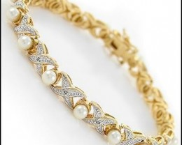 $1No Reserve 3.19 Ct Freshwater Pearl Diamond  Bracelet $725