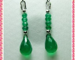 Quality Green Onyx in .925 Silver Earrings Z3