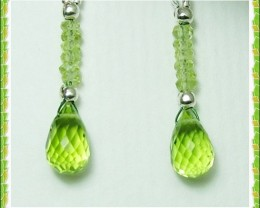 Quality Pakistani Peridot .925 Silver Earrings JW39