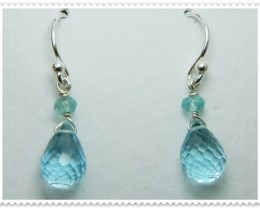 Quality Blue Topaz .925 Silver Earrings JW46