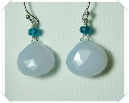 Quality Brazil Blue Chalcedony .925 Silver Earrings Z26
