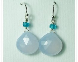 Quality Brazil Blue Chalcedony .925 Silver Earrings Z29