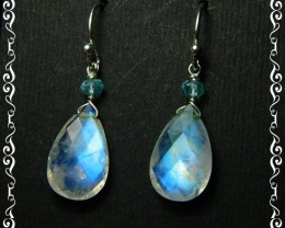 Quality Rainbow Moonstone .925 Silver Earrings JW28