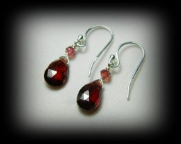Quality Spessarite/Rhodolite Garnet .925 Silver Earrings JW13