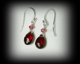 Quality Spessarite/Rhodolite Garnet .925 Silver Earrings JW14