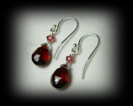 Quality Spessarite/Rhodolite Garnet .925 Silver Earrings Z39