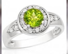 Beautiful Apple Green Peridot ~ 925 SS ~ Size 6 or 7 - Nice