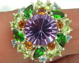 AMETHYST  SILVER RING 38  CTS SIZE-6.5  RJ-201