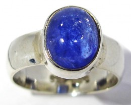 6.5 RING SIZE TANZANITE  SILVER RING -FACETED [SJ2935]