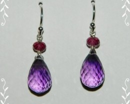 Quality Amethyst/Rhodolite Garnet.925 Silver Earrings Z51