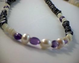 42 cm Australian Designer Opal Bead Necklace (A668)