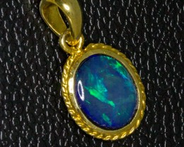 Australian Opal set in 9Ct gold Plated Pendant
