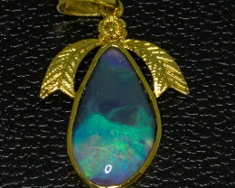 Australian Opal set in 18Ct gold Plated Pendant
