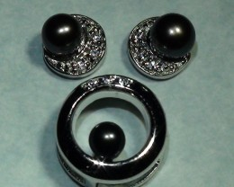 Beautiful  Black Pearl 925 Silver Earring Pendant Set * RN-3