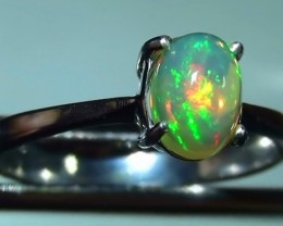 Gem Rainbow Colour Solid Natural Opal Ladys 925 Ring RN-4