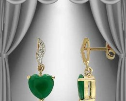 $1 No Reserve 2.87 CT Emerald Hearts & Diamond Earrings $505