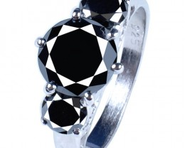 BLACK ROUND CUT DIAMOND SOLITAIRE.925 SILVER RING