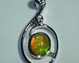 16.95ct Gem Rainbow Natural Opal Modern Silver Pendant RN-6