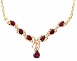 $1 No Reserve 7.69 CT Garnet & Diamond Fine Necklace $775