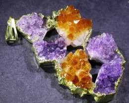 AMETHYST AND CITRINE PENDANT [SJ2981 ] TOTAL WEIGHT  110 CTS