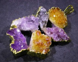 AMETHYST AND CITRINE PENDANT [SJ 2980] TOTAL WEIGHT 120  CTS