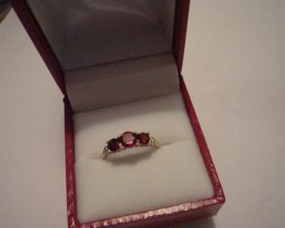 THREE-STONE PLUS RING W/ 1.10CTW PRECIOUS STONES  SZ7