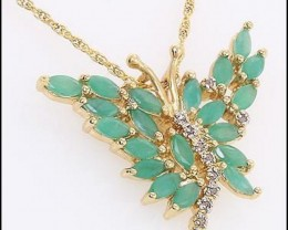 Beautiful 3.74 CT Emerald & Diamond Designer Necklace $580