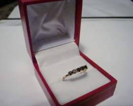 NEW!  GENUINE BLACK DIAMONDS SET IN 925/14K YELLOW GOLD