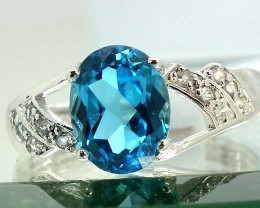 BLUE TOPAZ  SILVER RING 15.40  CTS  SIZE-7.50    RJ-211