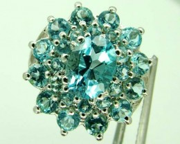 BLUE TOPAZ  SILVER RING  29.10 CTS  SIZE- 8   RJ-230