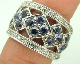TANZANITE SILVER RING  38.5 CTS  SIZE-8    RJ-649