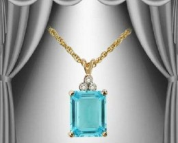 4.71 CT Blue Topaz & Diamond Fine Necklace $565