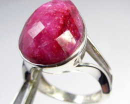 34 TCW CTS AFRICAN RUBY SILVER RING SIZE 8  GG 780