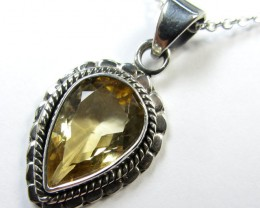 21CTS  FACETED CITRINE IN STERLING SILVER PENDANT GG 823