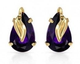 14KTSolid Yellow Gold ~ Imperial Amethyst Colored Earrings