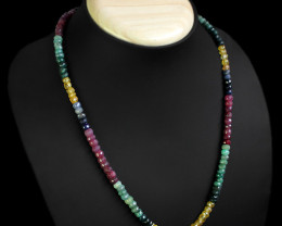 RARE 170.00 CTS NATURAL RUBY, EMERALD, SAPPHIRE NECKLACE