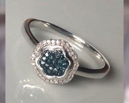 10KT WG & Blue Diamond Ring ~ Elegantly Beautiful