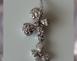 "Gorgeous Elegant Pendant w Diamonds & 18"" Chain in 925 SS"
