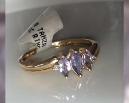 Tanzanite & Diamonds set in 10KT Yellow Gold ~ size 7 ring