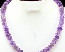 501.00 CTS NATURAL FACETED PURPLE AMETHYST BEADS NECKLACE