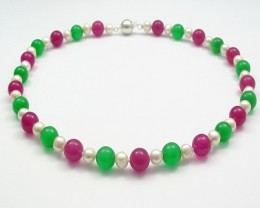 Genuine Pearl Necklace With Red Jade & Green Cats eye Jade