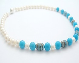 Genuine Pearl Necklace With Turquoise & Strip Turquoise