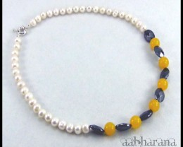 Genuine Pearl Necklace Yellow Topaz & Hematite