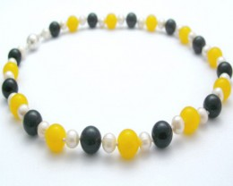 Genuine Pearl Necklace With Yellow Quartz & Onyx