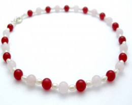 Genuine Pearl Necklace With Red Jade & Rose Quartz